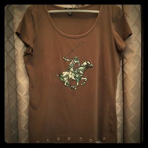 Unique Beverly Hills Polo Club Brown & Camo Shirt
